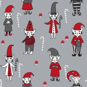 Santa's Elves christmas cute fabric pattern holiday spirit grey