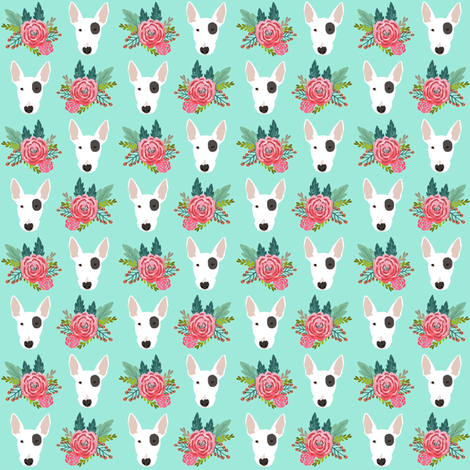Bull Terrier flora bouquet dog heads mint  fabric by petfriendly on Spoonflower - custom fabric