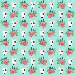 Bull Terrier flora bouquet dog heads mint
