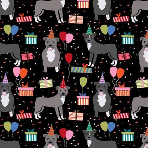 Pitbull birthday party presents dog breed fabric black