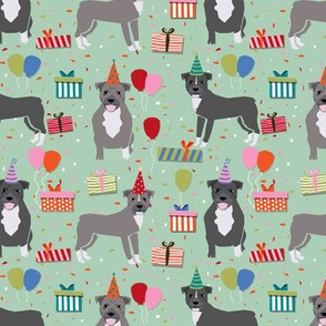 Pitbull birthday party presents dog breed fabric mint