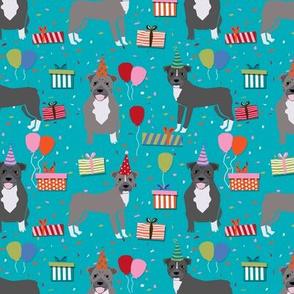 Pitbull birthday party presents dog breed fabric blue