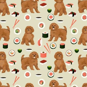 ruby Cavoodle cavapoo dog breed fabric sushi