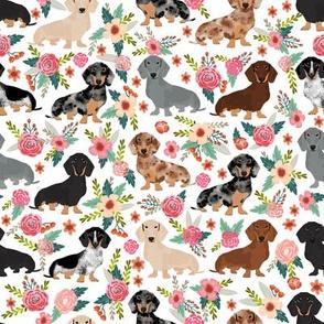 Dachshund dog breed pet fabric pattern florals white