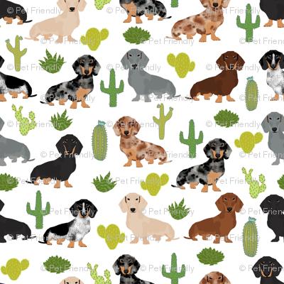 Dachshund Dog Breed Pet Fabric Pattern Cactus White Fabric