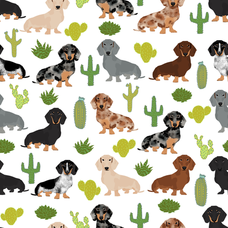 Dachshund dog breed pet fabric pattern cactus white fabric by petfriendly on Spoonflower - custom fabric