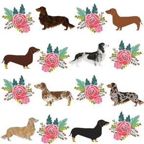 Dachshund dog breed pet fabric pattern flower bouquet white