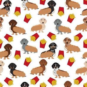 Dachshund dog breed pet fabric pattern french fries white