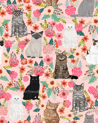 cat floral fabric cute cats in the gardnen florals design - light pink