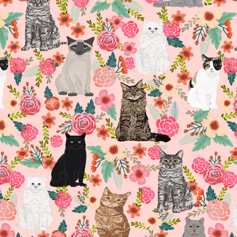 cat floral fabric cute cats in the gardnen florals design - light pink fabric by petfriendly on Spoonflower - custom fabric