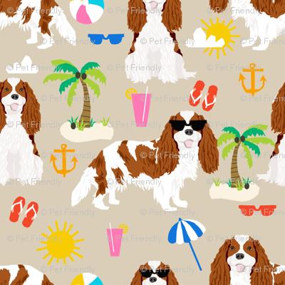 cavalier king charles spaniel beach fabric - bleheim cavalier - sand