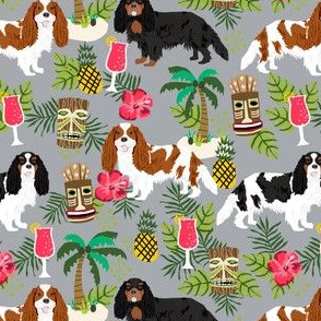 cavalier king charles spaniel tiki tropical fabric - blenheim, black and tan, tri cavalier -grey