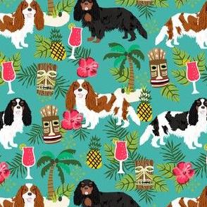 cavalier king charles spaniel tiki tropical fabric - blenheim, black and tan, tri cavalier - turquoise