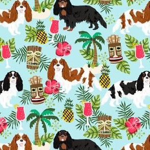 cavalier king charles spaniel tiki tropical fabric - blenheim, black and tan, tri cavalier - light blue
