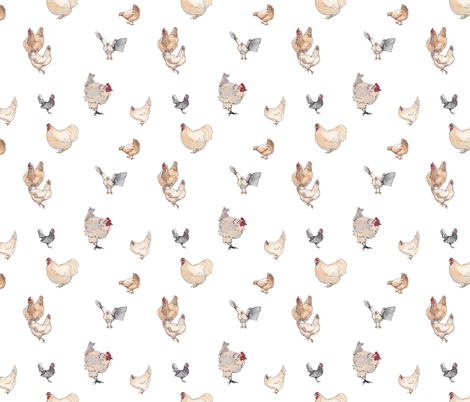 Dreaming of a White Chicken fabric by normajeane on Spoonflower - custom fabric