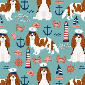 cavalier nautical fabric cute blenheim cavalier spaniel dog nautical - blue