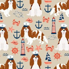 cavalier nautical fabric cute blenheim cavalier spaniel dog nautical - sand