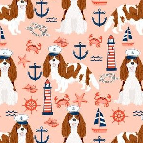 cavalier nautical fabric cute blenheim cavalier spaniel dog nautical - blush