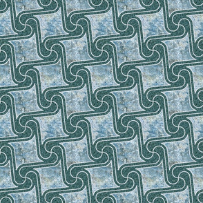 Textured tiles in teal