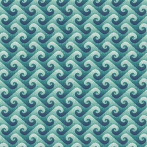 1:12 scale wave mosaic - navy, teal, white