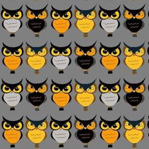 Many Owls on Gray