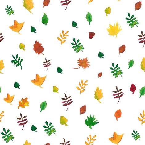 Watercolor fall leaves fabric by ylvanyberg on Spoonflower - custom fabric