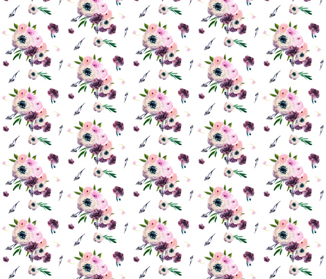 "8.5"" Dark Floral Print in White / Half-Drop fabric by shopcabin on Spoonflower - custom fabric"