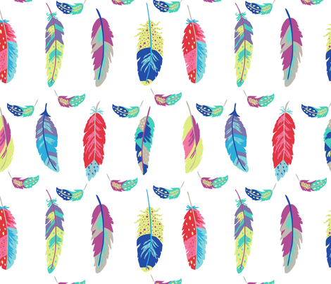 Fantasy Feathers White fabric by phyllisdobbs on Spoonflower - custom fabric
