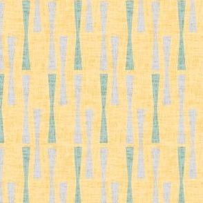 Textured linen abstract || Spring Pastel 50s  geometric bar yellow gold grass green gray