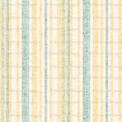 17-8AC Textured Linen Pinstripe Yellow  gold cream green || Mid-century modern  _ Miss Chiff Designs