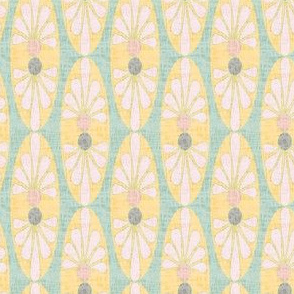 Abstract floral oval || Mid-century modern linen texture || Green yellow pink gray coral  peach _ Miss Chiff Designs
