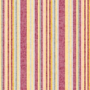 17-08Y Red Gold Yellow Pinstripe || Linen Texture Pin stripe