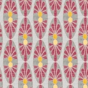 Abstract floral oval || mid-century modern linen texture  home decor || red mustard yellow garnet gold gray