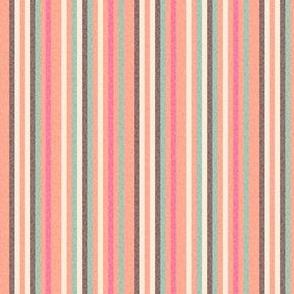 Textured Pinstripe peach coral pink brown cream || pin stripe thin mid-century modern