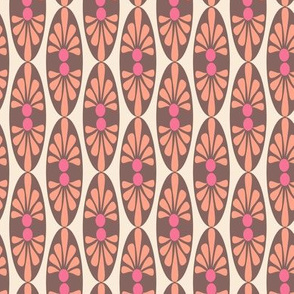 Coral Pink Brown Cream abstract floral oval || Peach Mid-century modern tropical girl_ Miss Chiff Designs