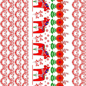 Dala_Horse_02_Pattern_Hearts_Border_Print