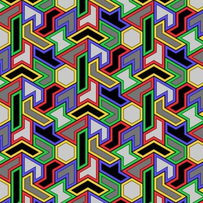 Hexiamond 3,4-coloring (red, green, blue, yellow))