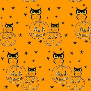 Owls and Jack o lanterns on orange