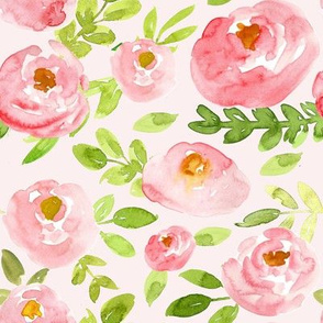 soft pink watercolor floral on blush