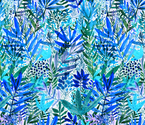 Blue watercolor leaves fabric by rebecca_reck_art on Spoonflower - custom fabric