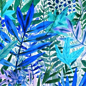 Blue watercolor leaves