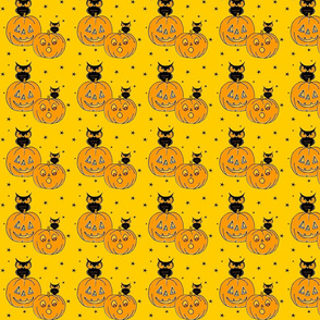 Owls and Jack o lanterns on yellow