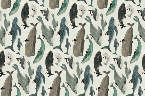 whale rider tea towel fabric by katherine_quinn on Spoonflower - custom fabric