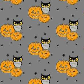 Owls on Jack o lanterns on Gray