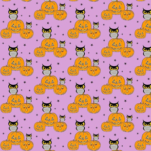 Owls and jack o lanterns on light purple!