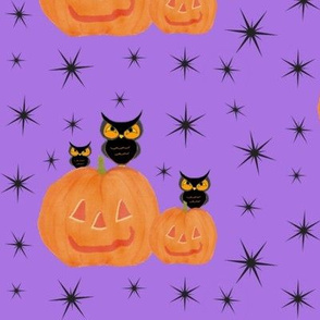 vintage style owls with jack o lanterns-ed