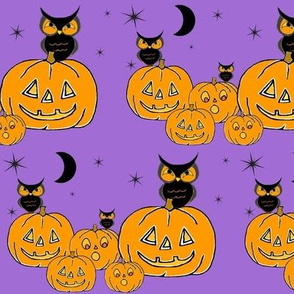 Owls and jack o lanterns on dark purple