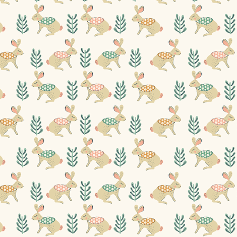 Woodland Bunnies fabric by jacquelinehurd on Spoonflower - custom fabric
