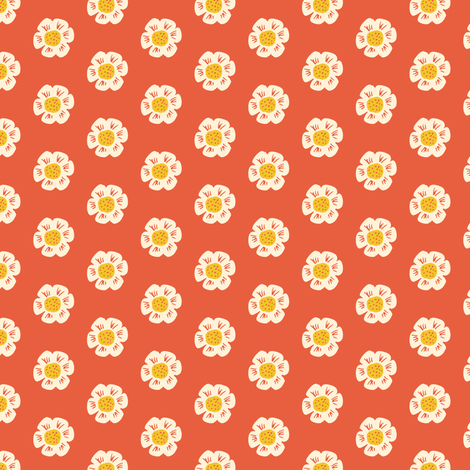 Little flower on red fabric by jacquelinehurd on Spoonflower - custom fabric