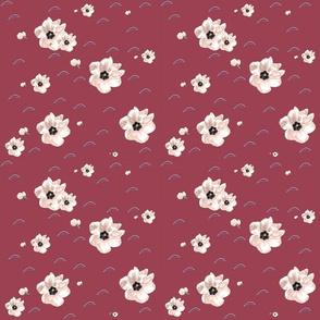 Open White Tulips on Plum Rose Upholstery Fabric